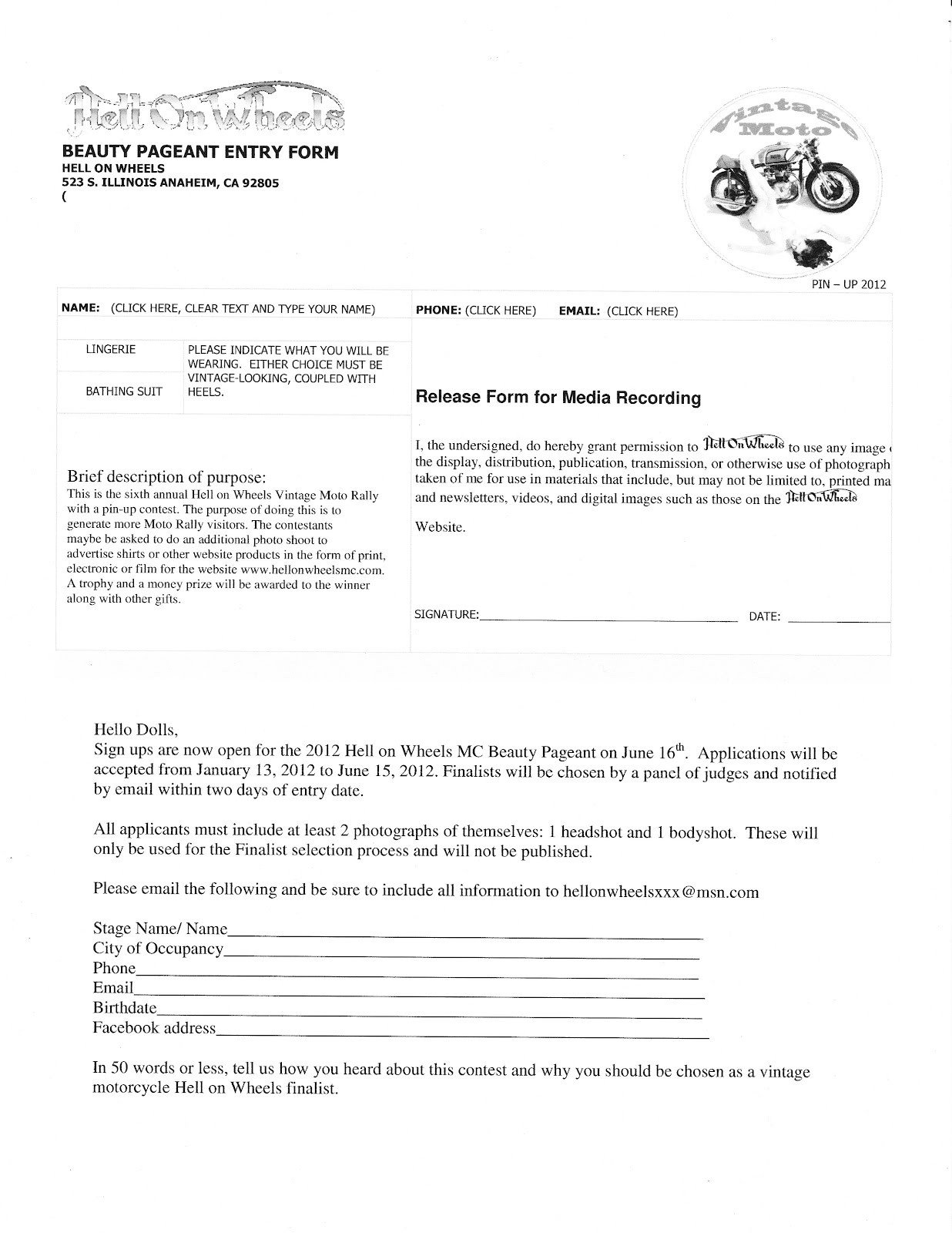Pageant Entry form Template Hell On Wheels Mc Blog 2012 Pinup Pageant Entry form