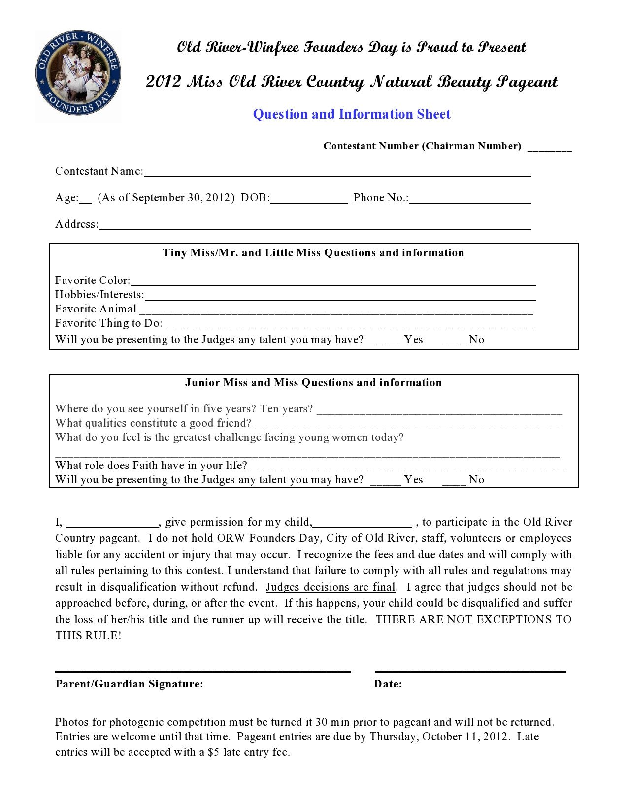 Pageant Entry form Template Mwcc Natural Beauty Pageant