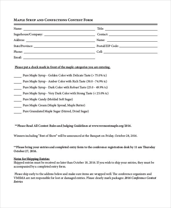 Pageant Entry form Template Sample Contest form 7 Examples In Word Pdf