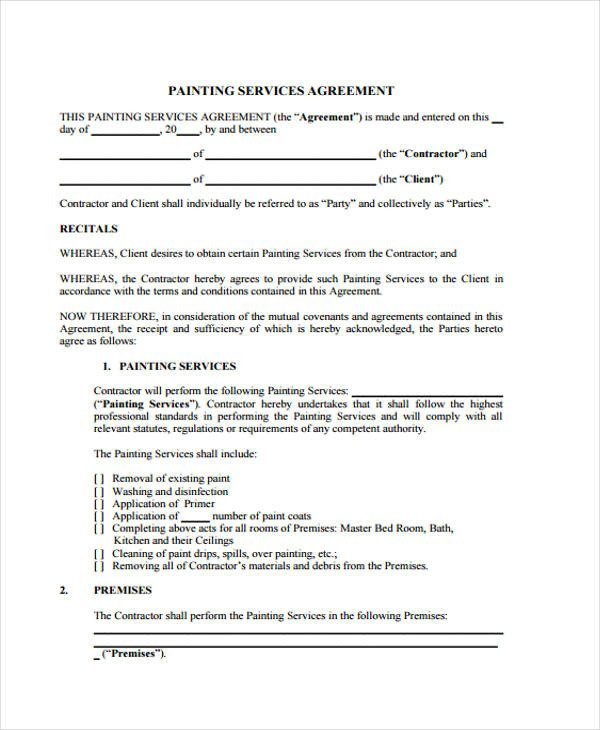 Painting Contract Template Free Download 29 Free Contract Agreement forms