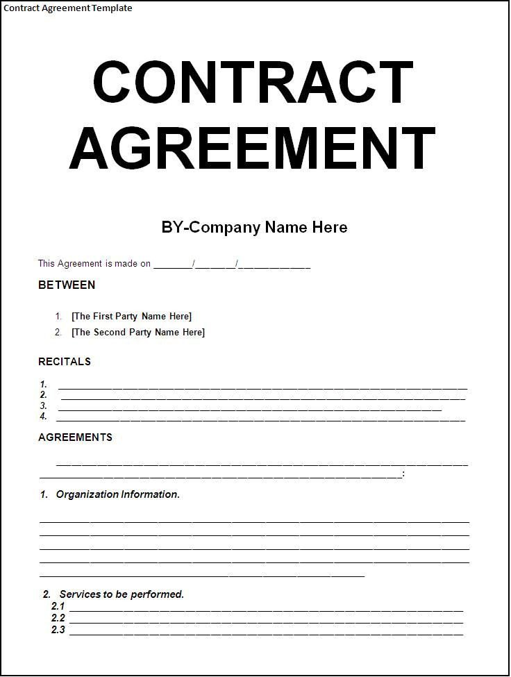 Painting Contract Template Free Download Free Download Blank Contract Agreement form Sample for
