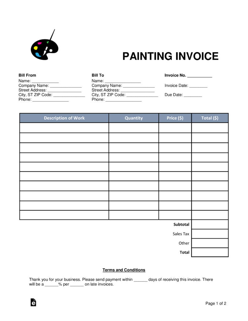 Painting Contract Template Free Download Free Painting Invoice Template Word Pdf