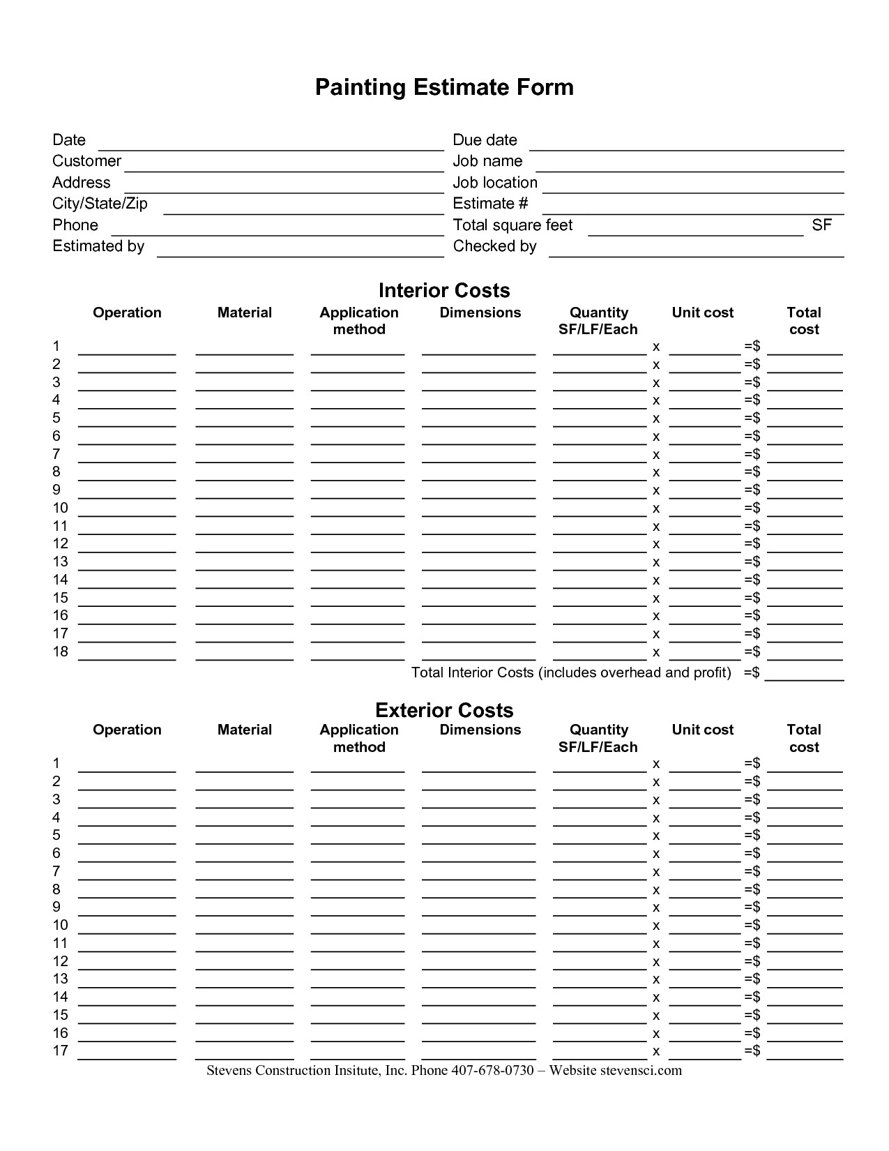 Painting Contract Template Free Download Painting Estimate forms