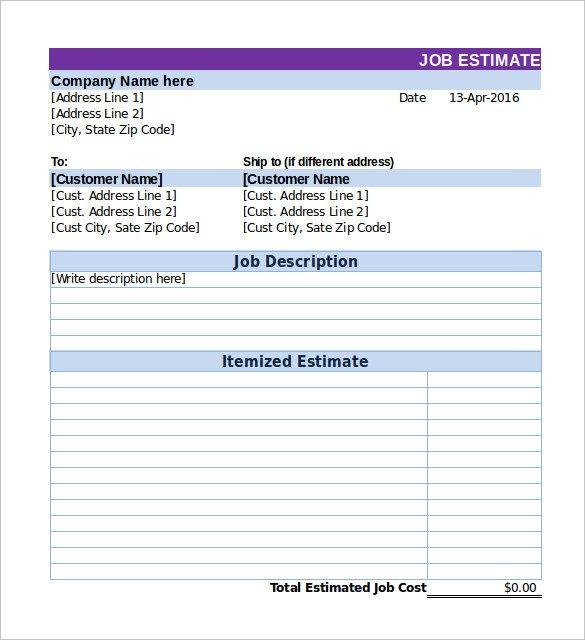 Painting Estimate Template Excel 26 Blank Estimate Templates Pdf Doc Excel Odt