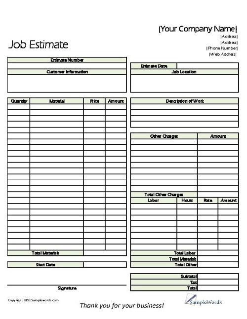 Painting Estimate Template Excel Estimate Printable forms & Templates