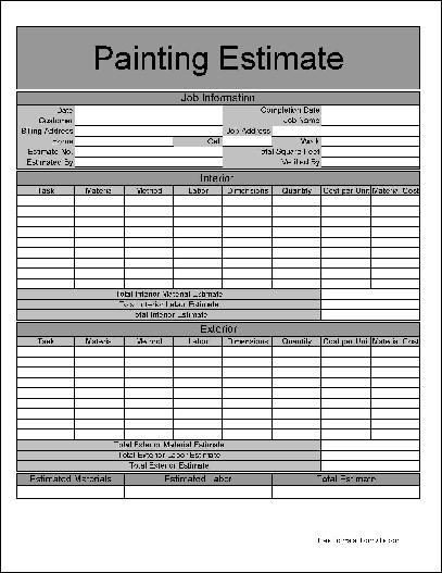 Painting Estimate Template Excel Printable Job Estimate forms