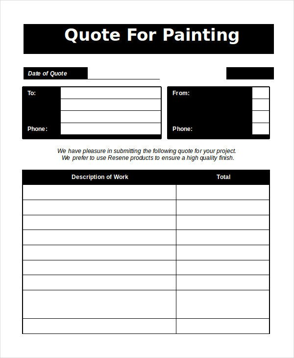 Painting Estimate Template Excel Word Estimate Template 5 Free Word Documents Download