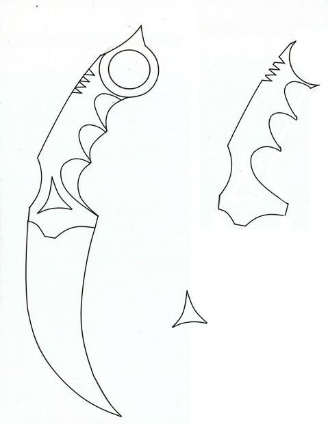 Paper butterfly Knife Template Wooden Karambit