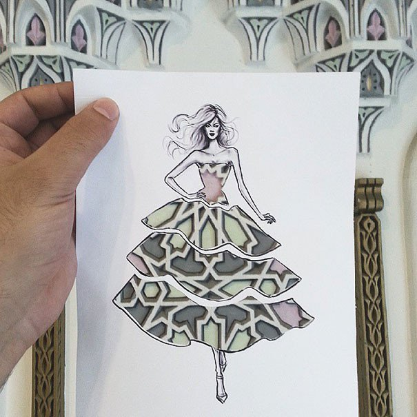 Paper Cut Out Designs Fashion Illustrator Pletes His Cut Out Dresses with