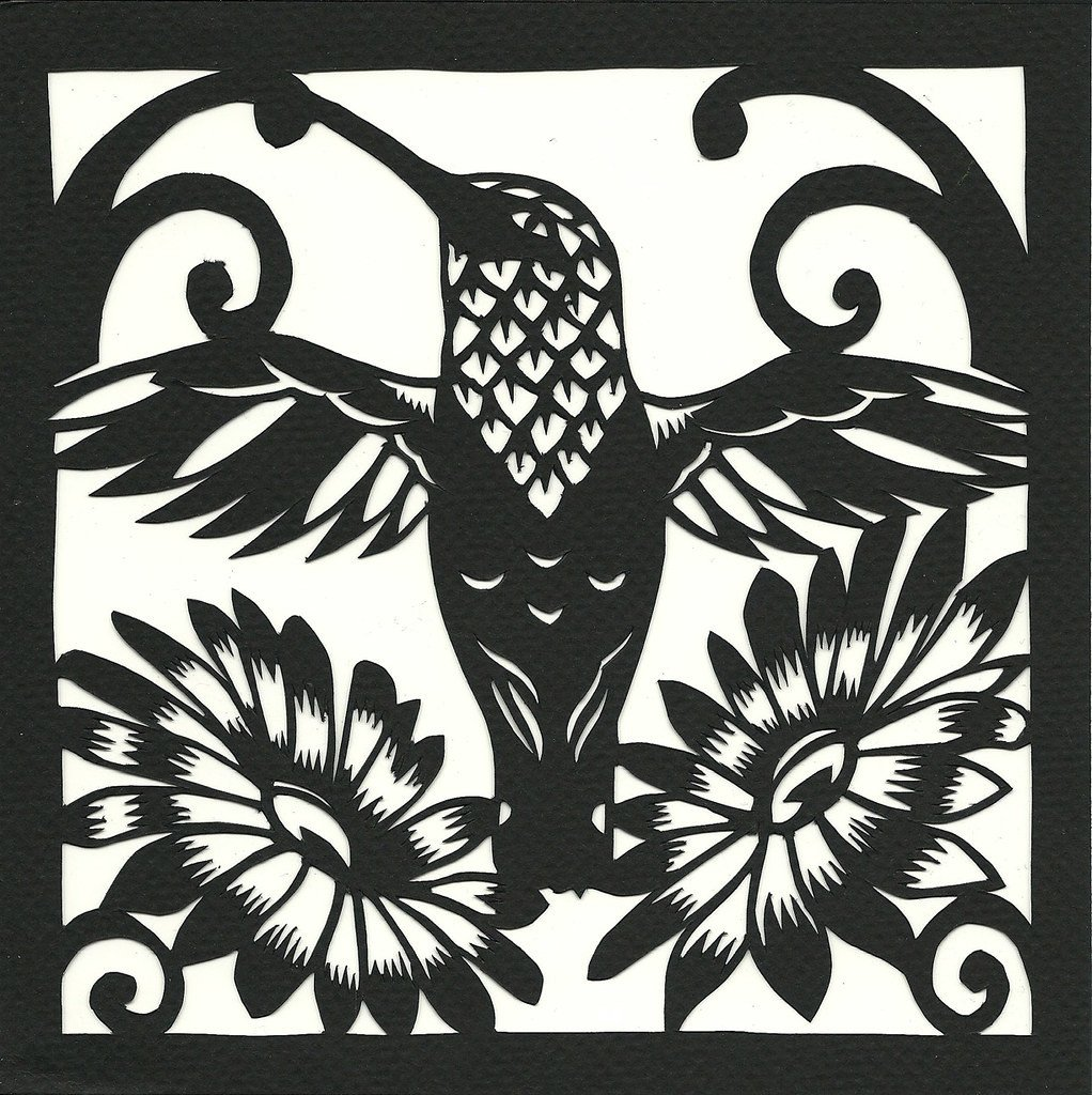 "Paper Cut Out Designs Hummingbird and Flowers 7"" X 7"" Cut Paper 2011"