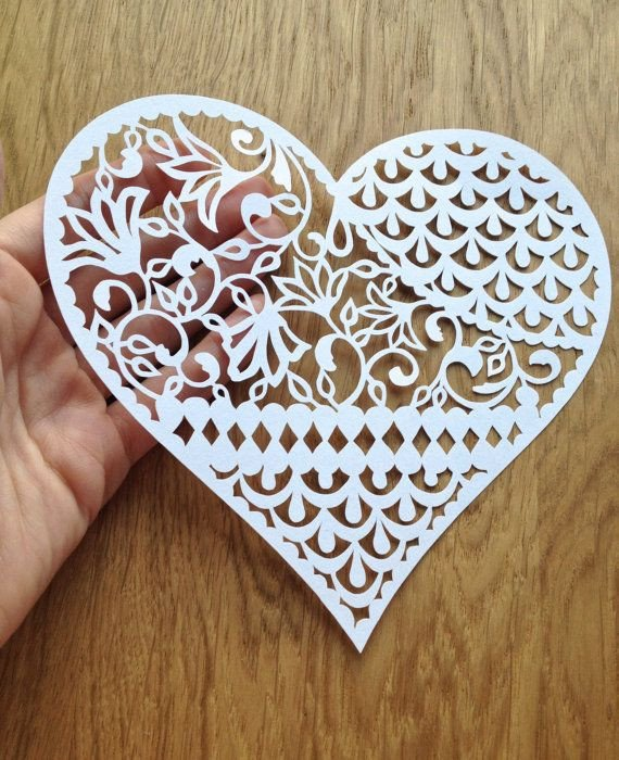 Paper Cut Out Designs Pattern Heart Papercutting Template to от