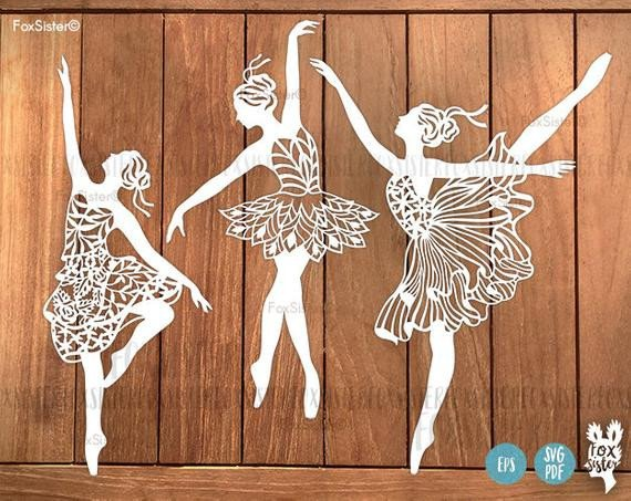 Paper Cut Outs Templates Ballerina Svg Bundle 3 Papercut Templates Set 1 Ballet