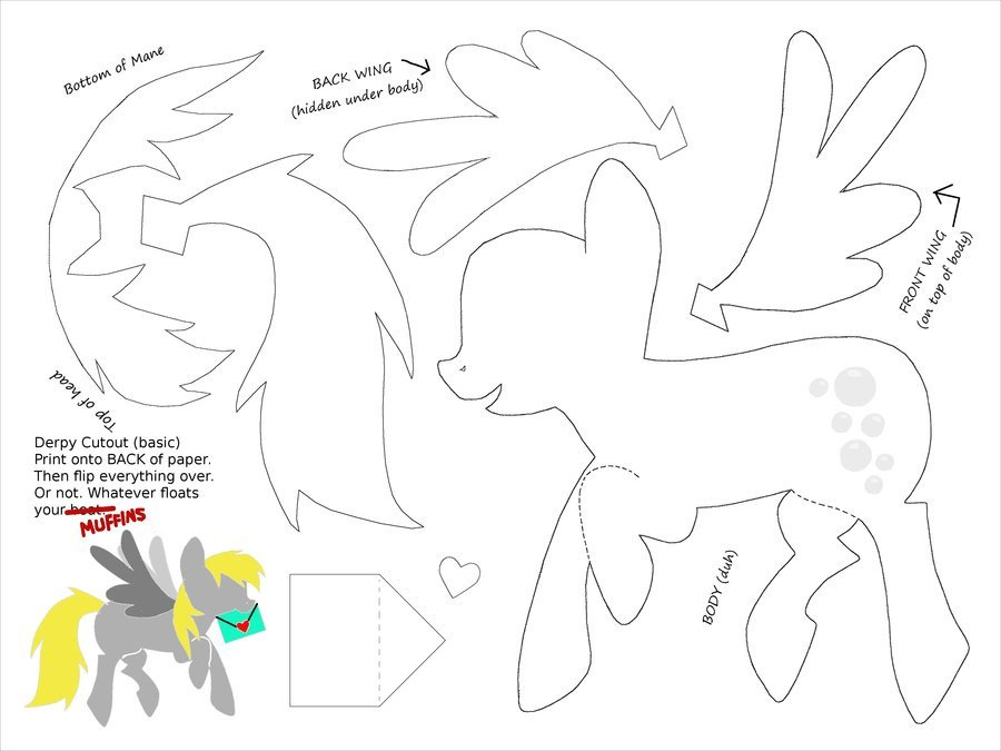 Paper Cut Outs Templates Derpy Cut Out Template for Paper Art by Plaidsandstripes