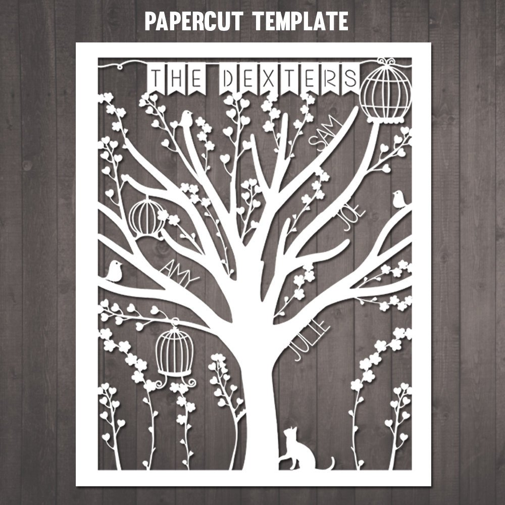 Paper Cut Outs Templates Diy Family Tree Papercut Template Personalised Family Tree