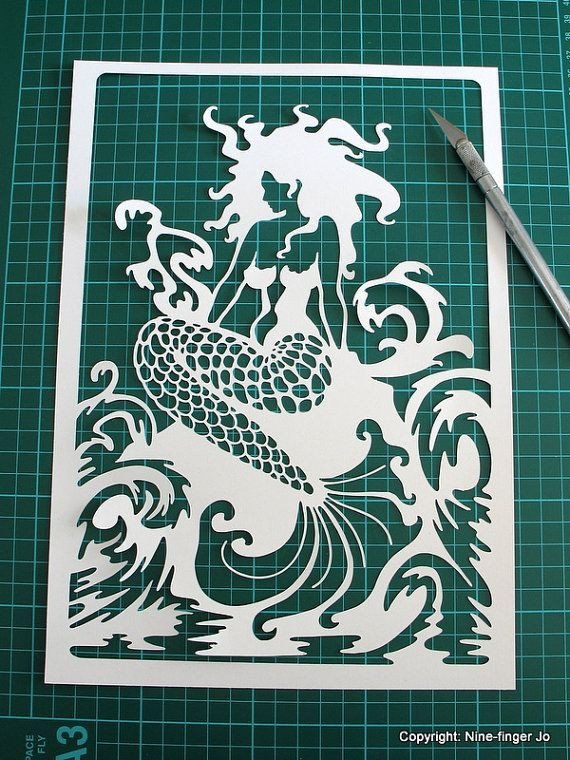 Paper Cut Outs Templates Mermaid Papercut Template Svg Paper Cutting Template