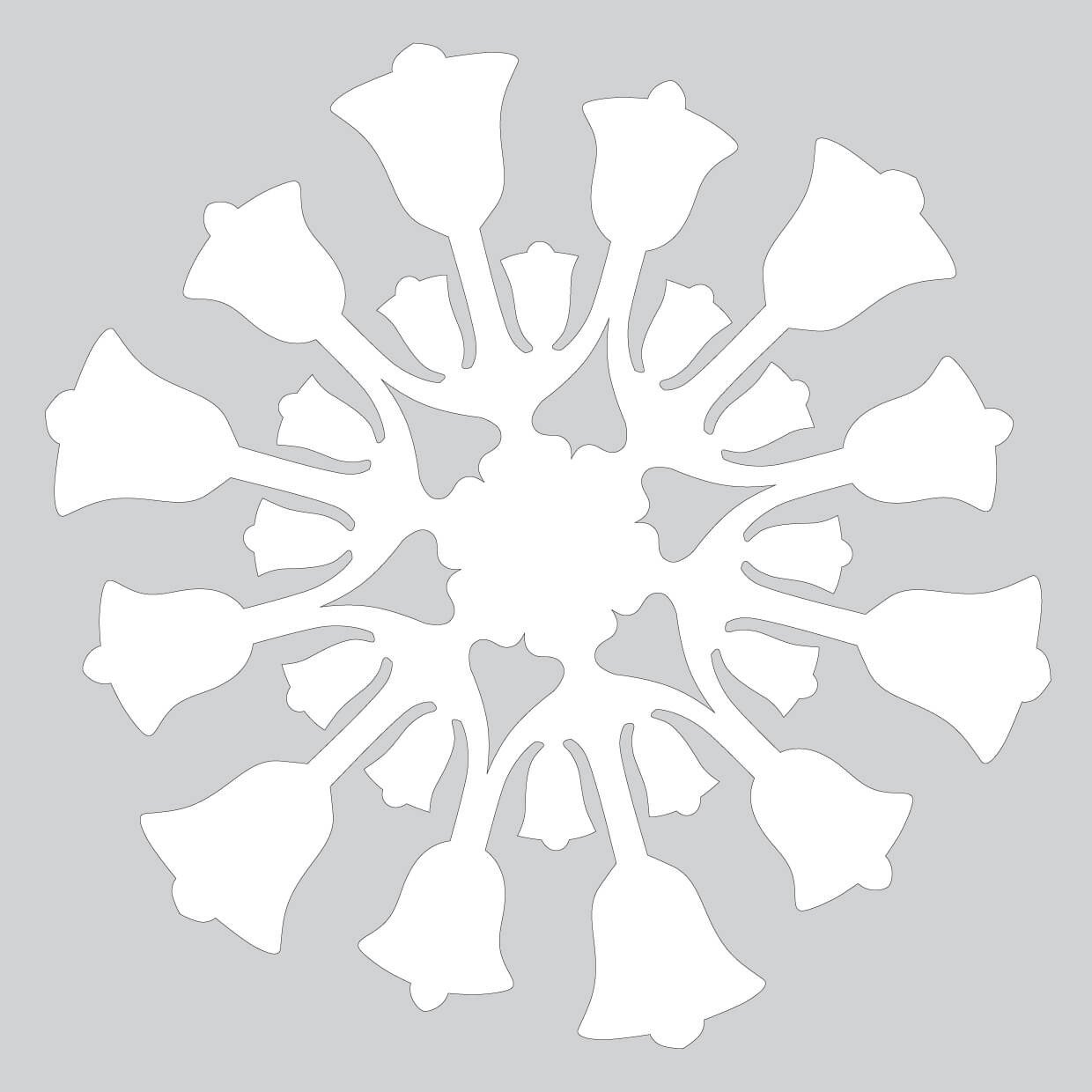 Paper Cut Outs Templates Paper Snowflake Pattern with Bells Cut Out Template