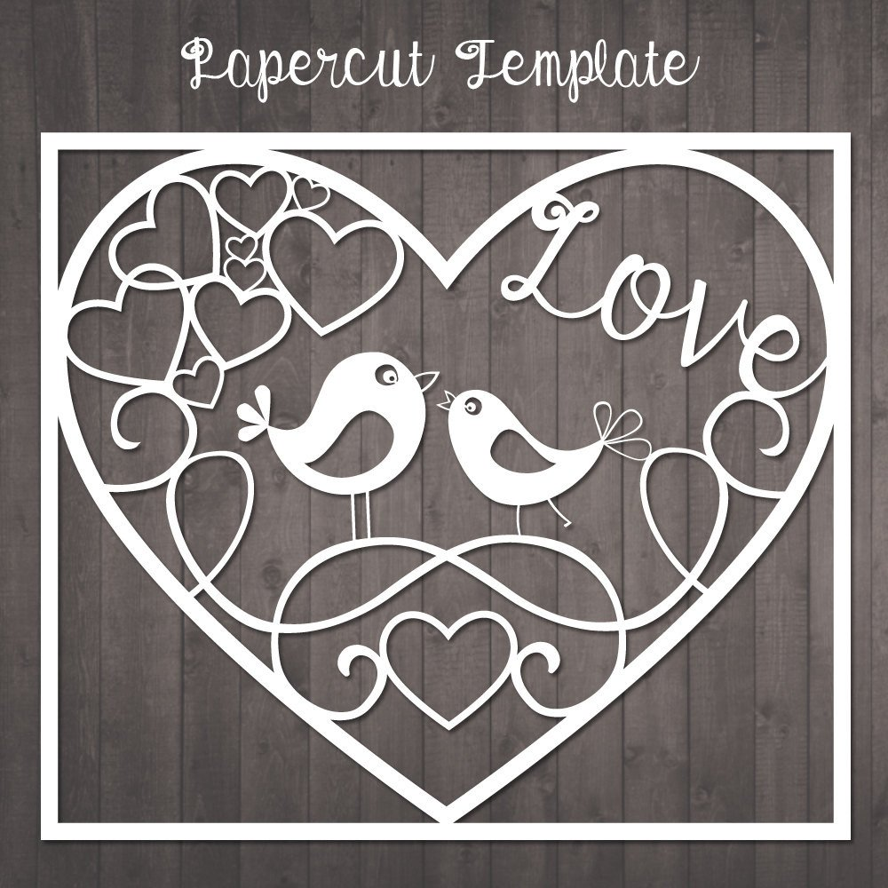 Paper Cut Outs Templates Papercut Template Birds In Love Paper Cut Template to Cut