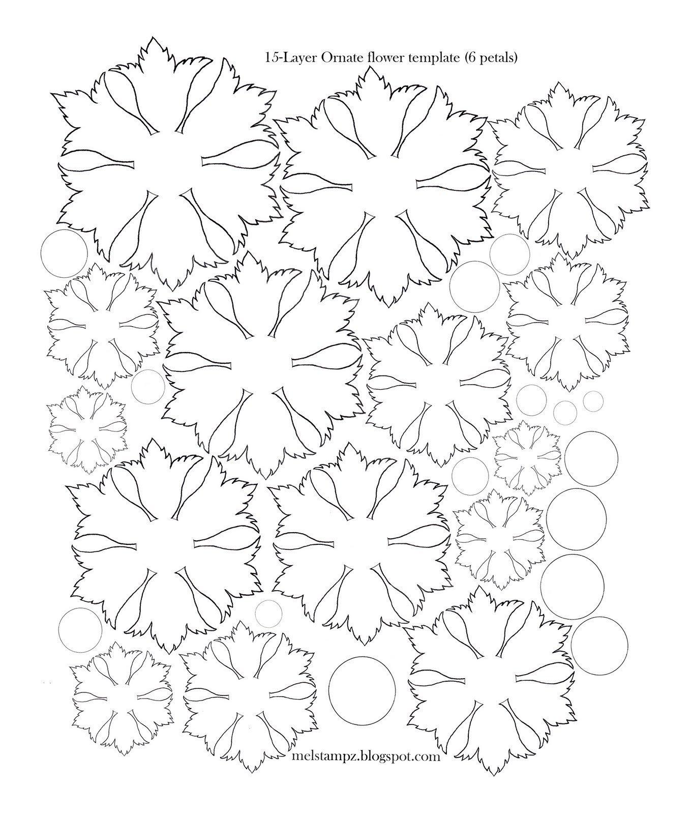 Paper Flower Petal Templates Mel Stampz 6 Petal ornate Flower Template