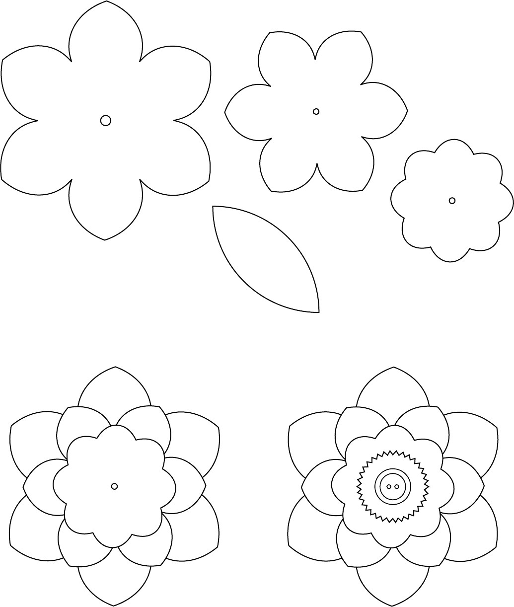 Paper Flower Template Printable Flower Template 1 трафареты цветы Pinterest