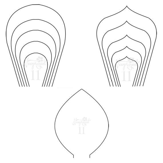 Paper Flower Template Printable Pdf Set Of 2 Flower Templates and 1 Leaf Template Giant