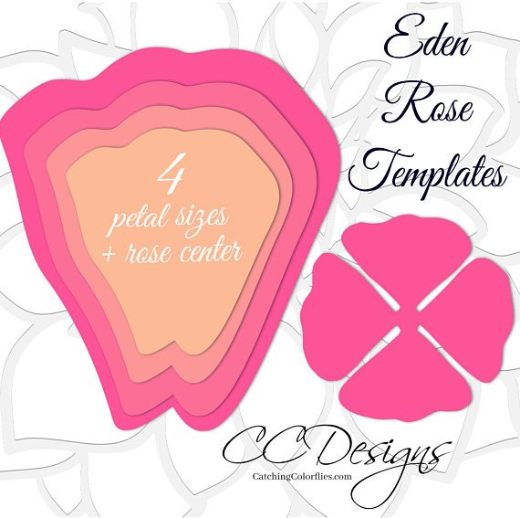 Paper Rose Template Pdf Giant Paper Rose Templates Easy Printable Pdf Rose Template