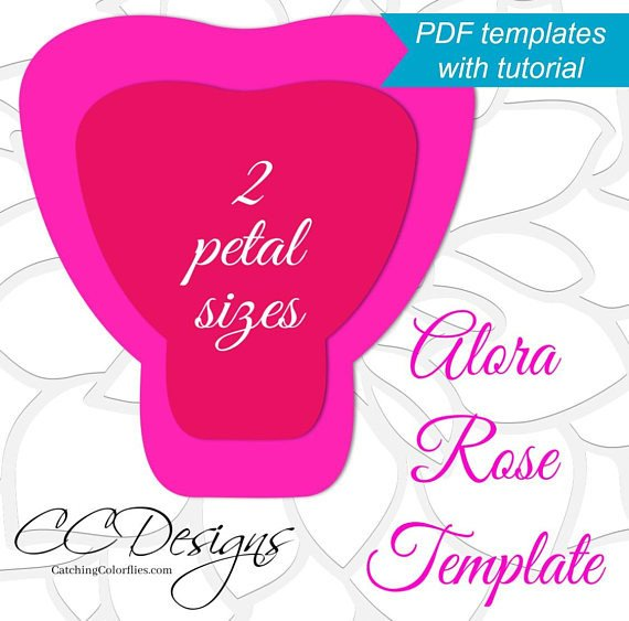 Paper Rose Template Pdf Printable Pdf Paper Rose Templates Giant Paper Rose Flower