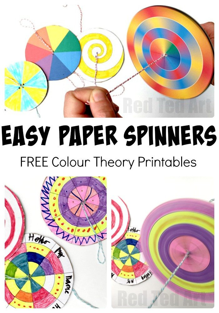 Paper Spinner Template Diy Paper Spinner toys Red Ted Art