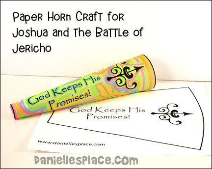 Paper Trumpet Craft Template Bible themes Joshua