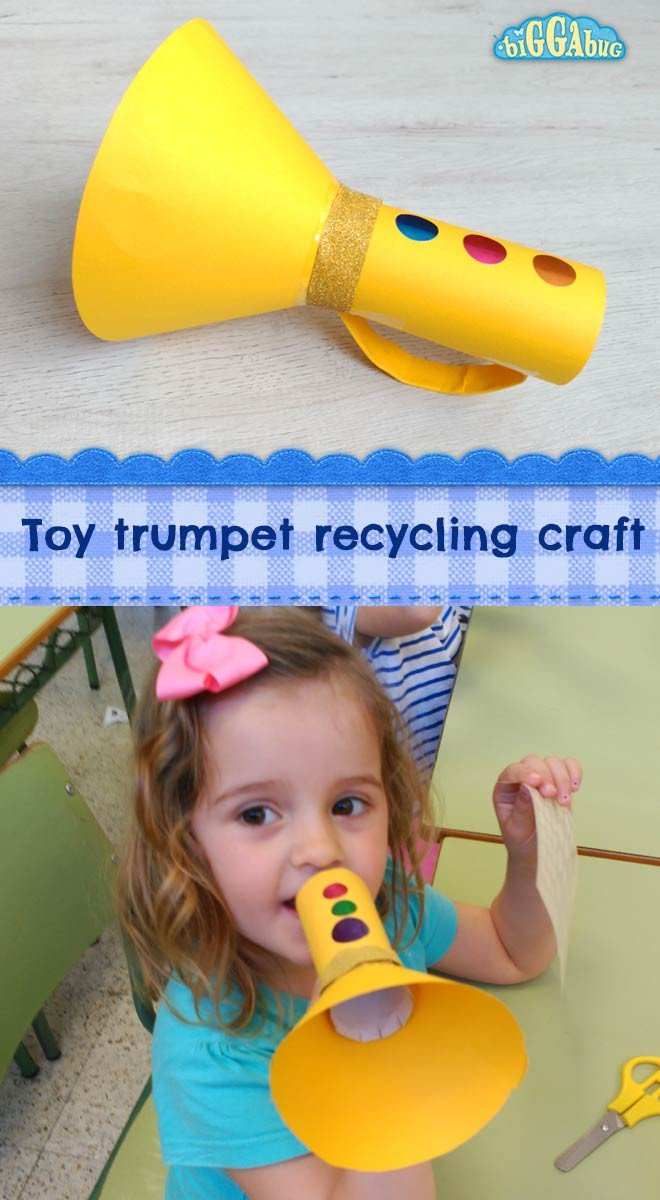 Paper Trumpet Craft Template Cardboard Tube toy Trumpet Craft Tea Time Monkeys