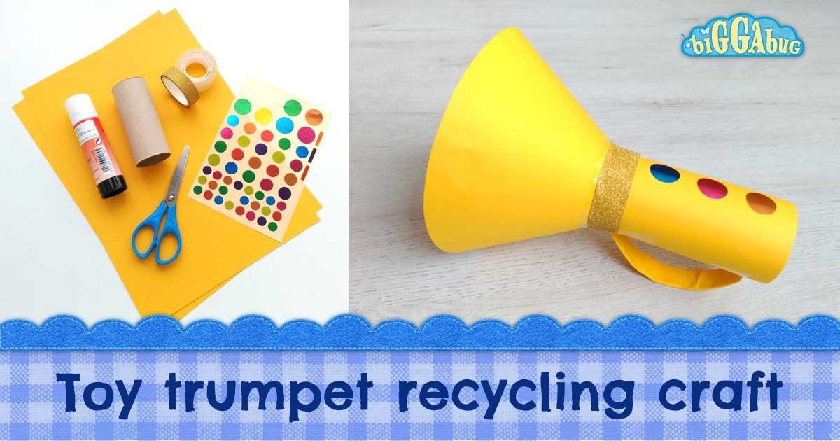 Paper Trumpet Craft Template Cardboard Tube toy Trumpet Craft Tea Time Monkeys