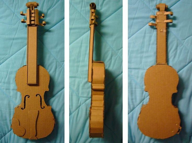 Paper Trumpet Craft Template Cardboard Violin Get Creative with Cardboard