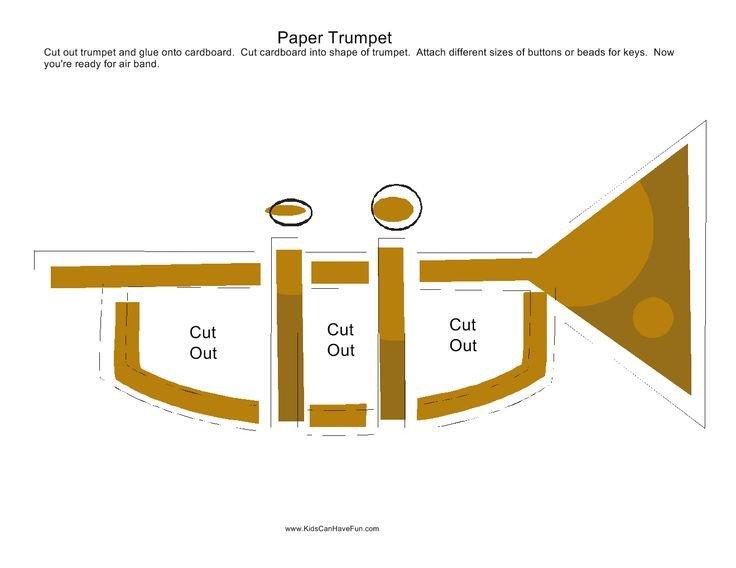 Paper Trumpet Craft Template Paper Trumpet Craft