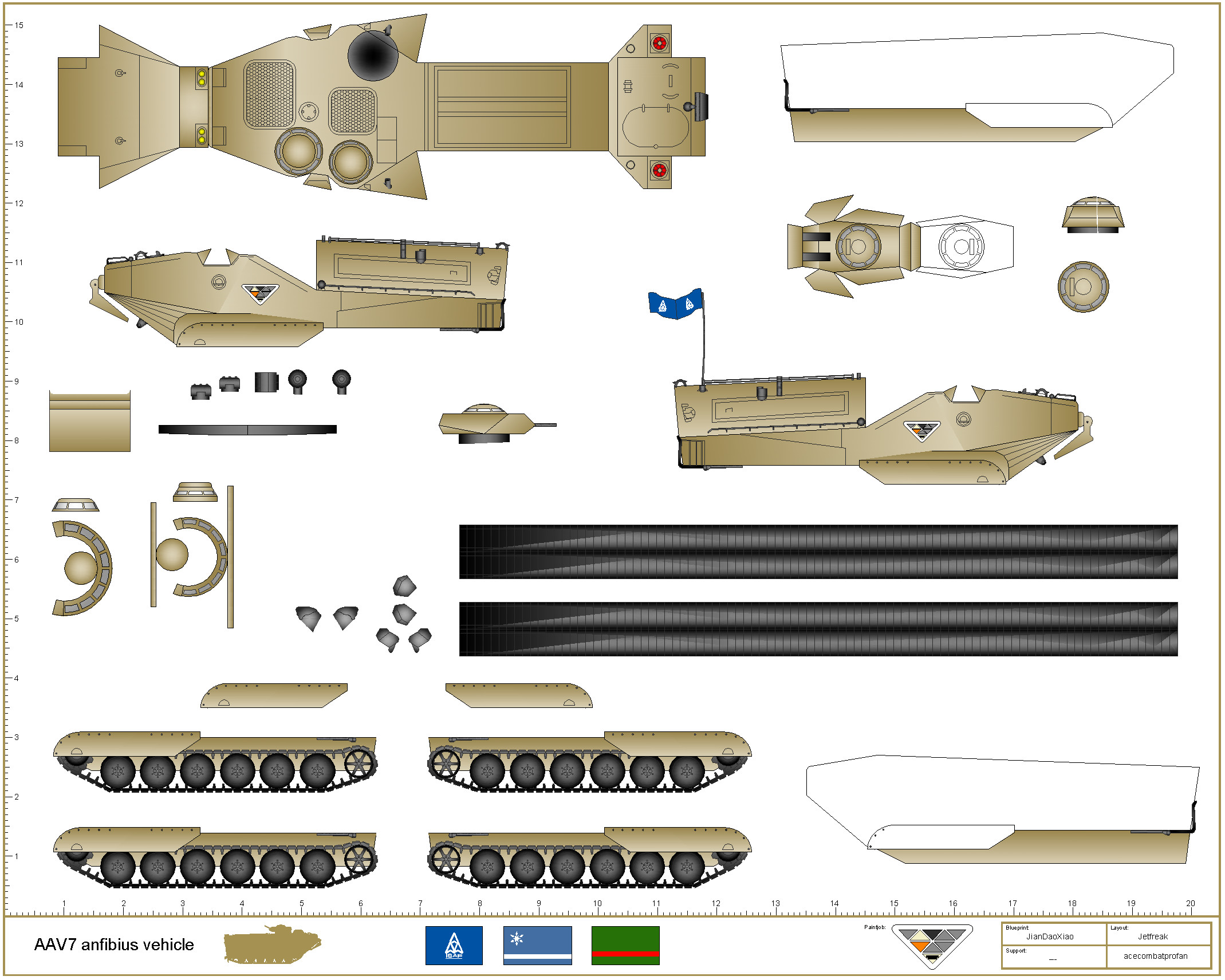 Papercraft Tank Template Aav7 Anfibius Vehicle Paper Models Pinterest