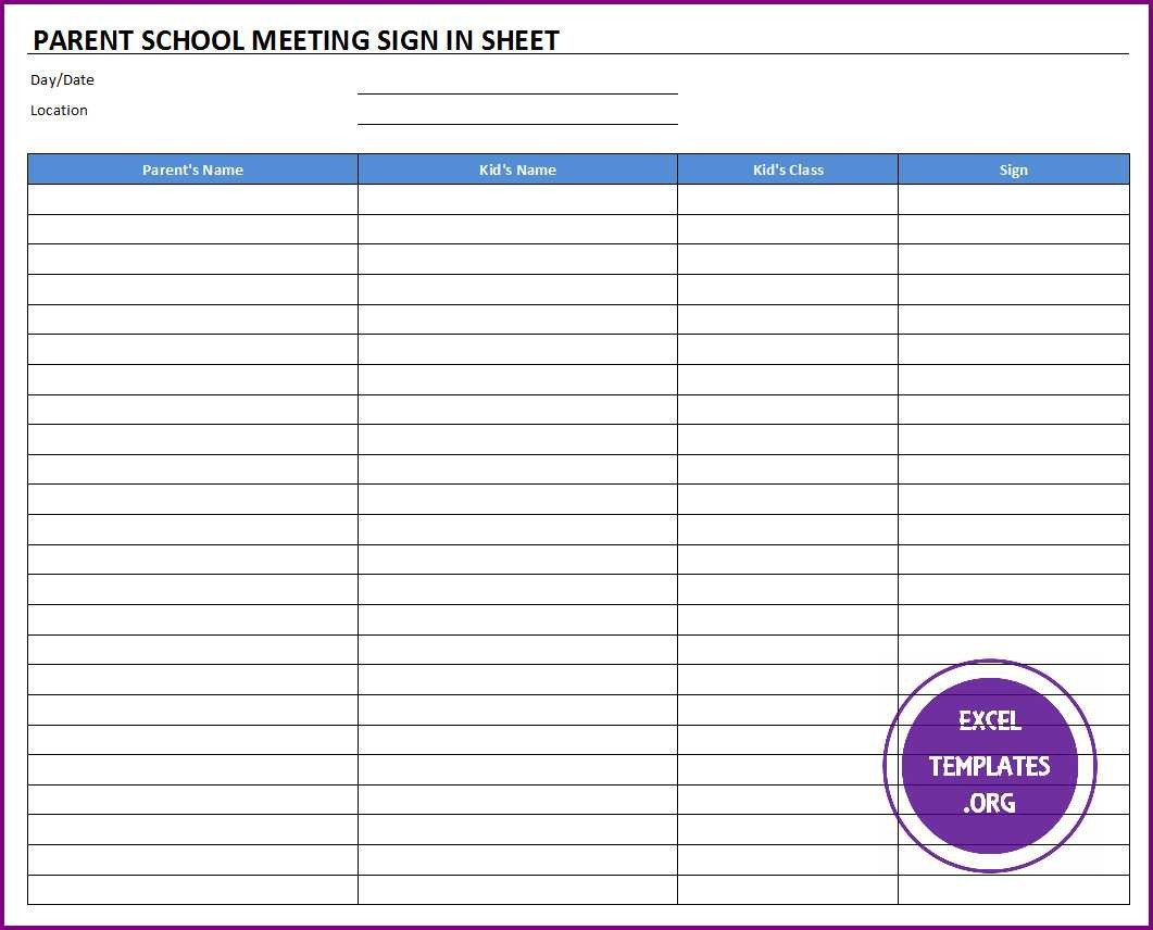 Parent Sign In Sheet Parent School Meeting Sign In Sheet Template