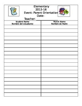 Parent Sign In Sheet Parent Sign In Sheet English and Spanish by A to Z