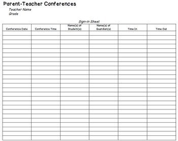 Parent Sign In Sheet Parent Teacher Conference Sign In Sheet by the Husky