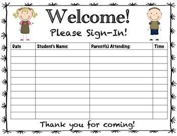 Parent Sign In Sheet Parent Teacher Conference Sign In Sheet
