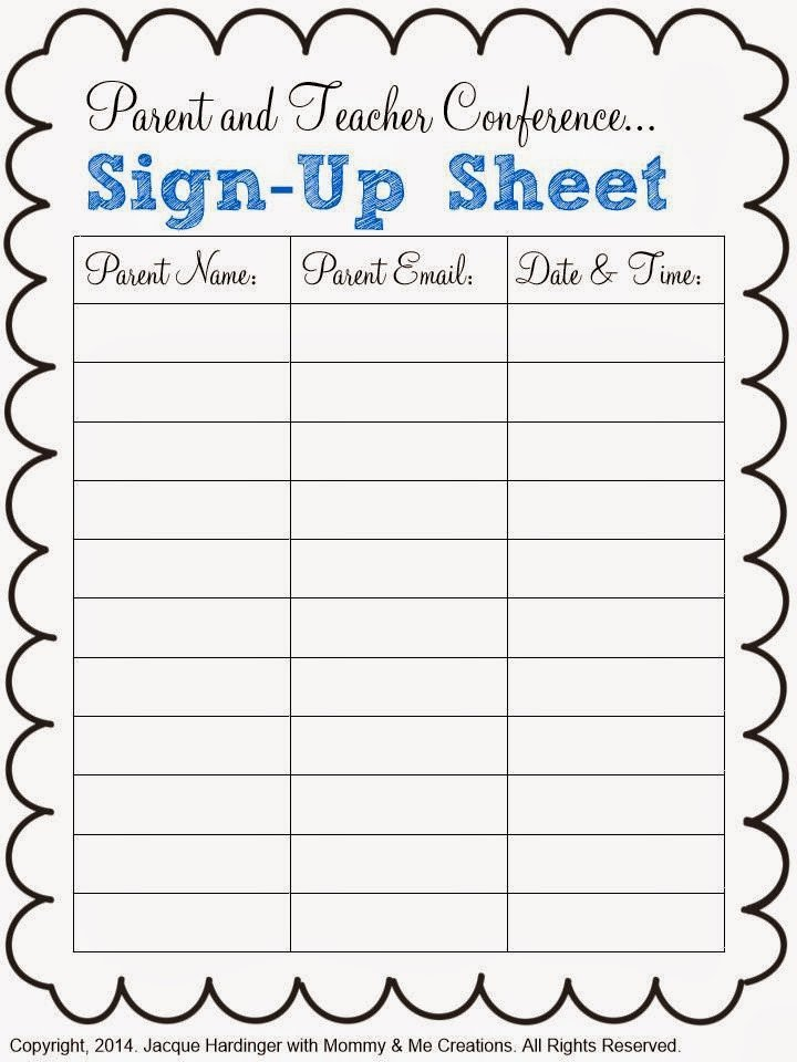 Parent Sign In Sheet Spark Of Inspiration Parent and Teacher Conference Freebie