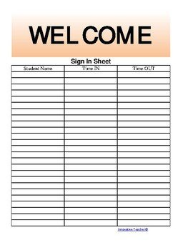 Parent Sign In Sheet the Teacher S Ultimate Sign In Sheet Free by Innovative