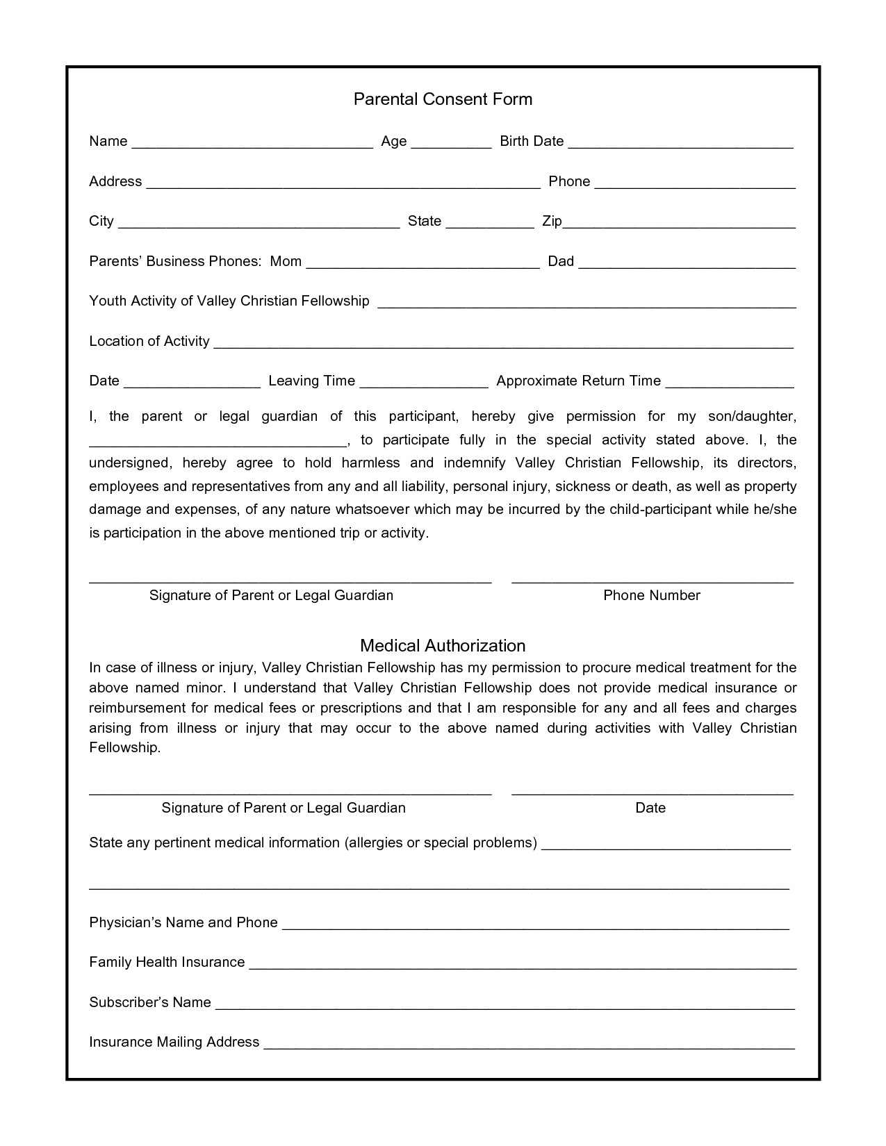 Parental Consent form Template Parental Consent form for S Swifter Parental