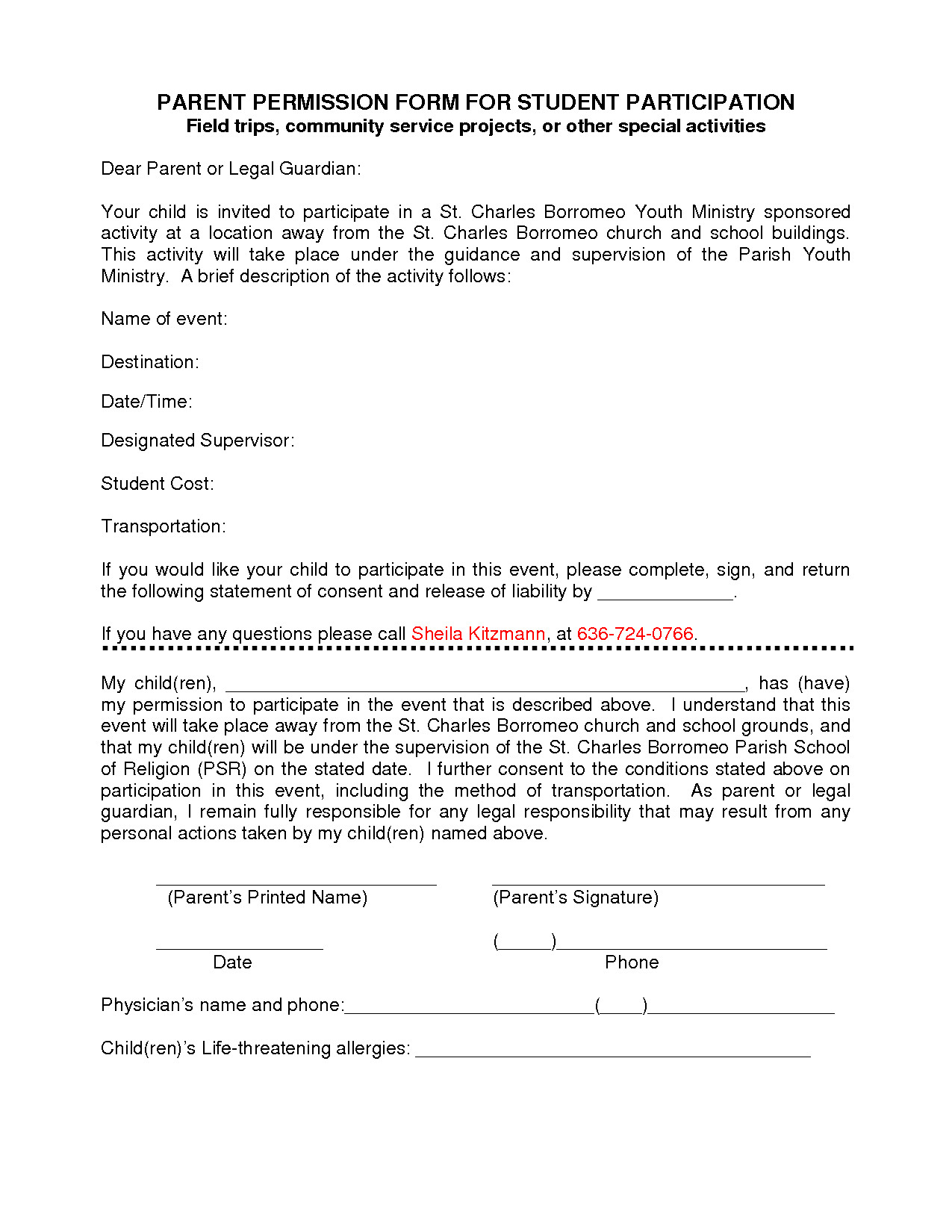 Parental Consent form Template Participation form Template