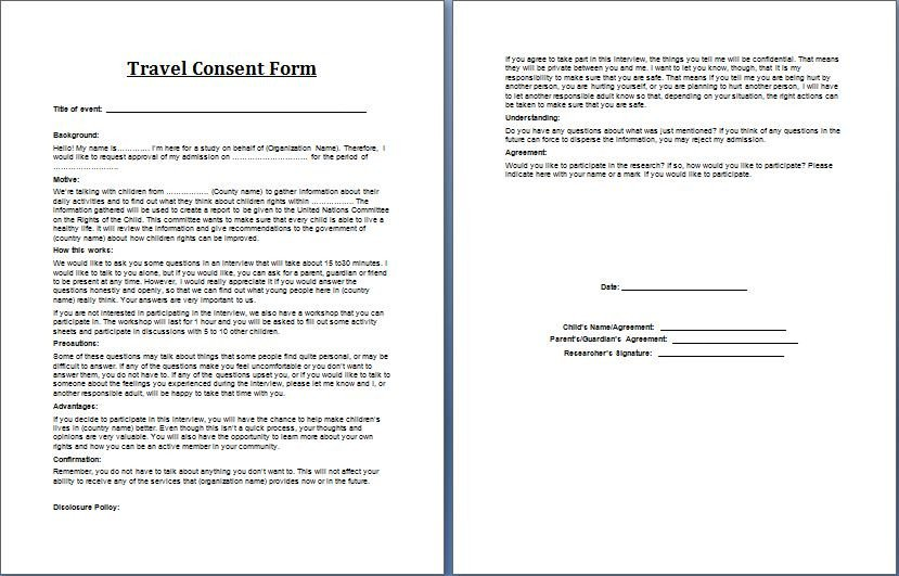 Parental Consent form Template Printable Ms Word Parent Consent forms