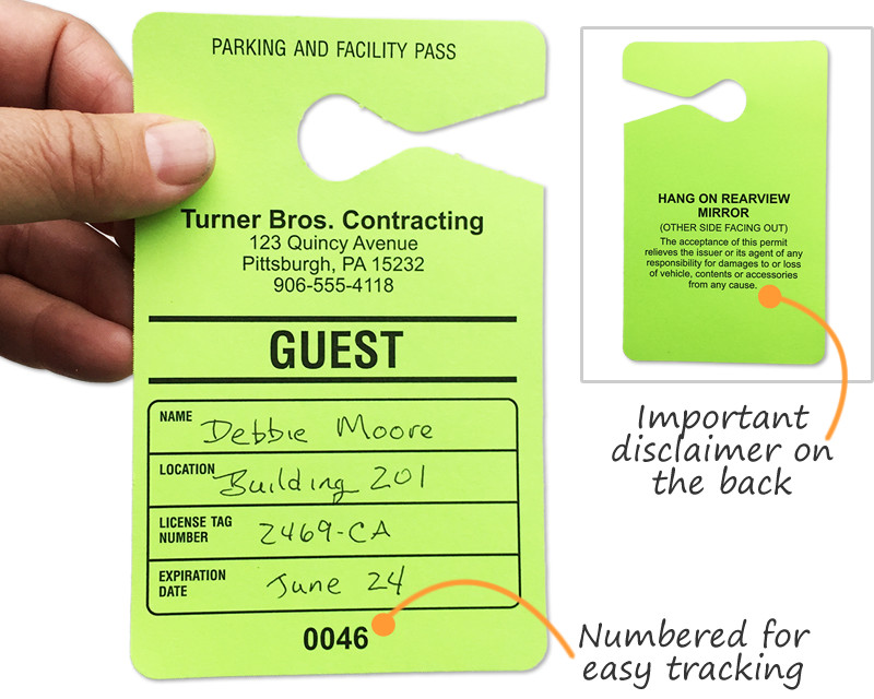 Parking Permit Template Word Guest Parking Passes