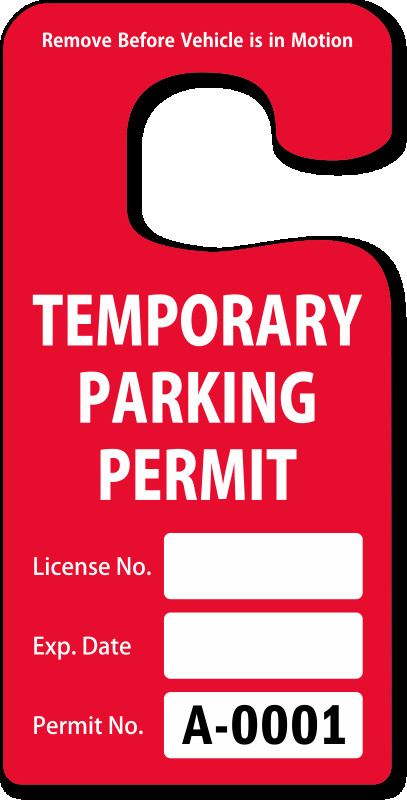 Parking Permit Template Word Parking Hang Tags