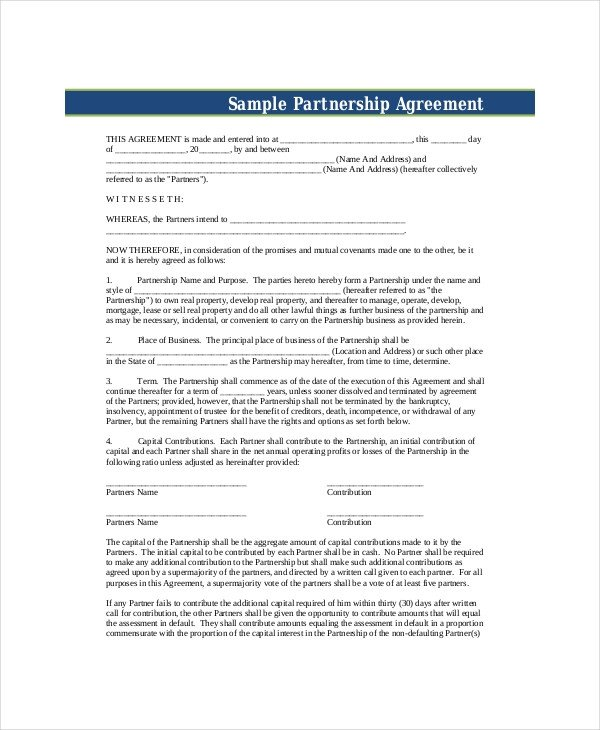 Partnership Agreement Template Pdf Business Partnership Agreement 11 Free Pdf Word