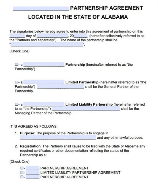 Partnership Agreement Template Pdf Free Alabama Partnership Agreement Template Pdf