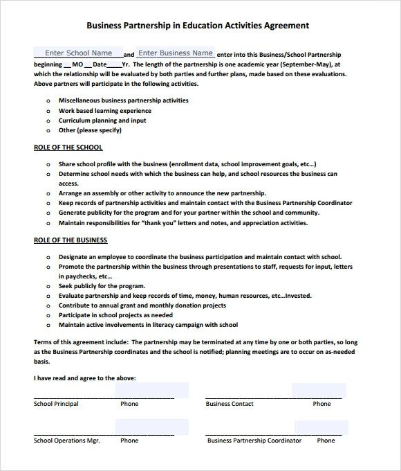 Partnership Agreement Template Pdf Sample Business Partnership Agreement – 10 Documents In
