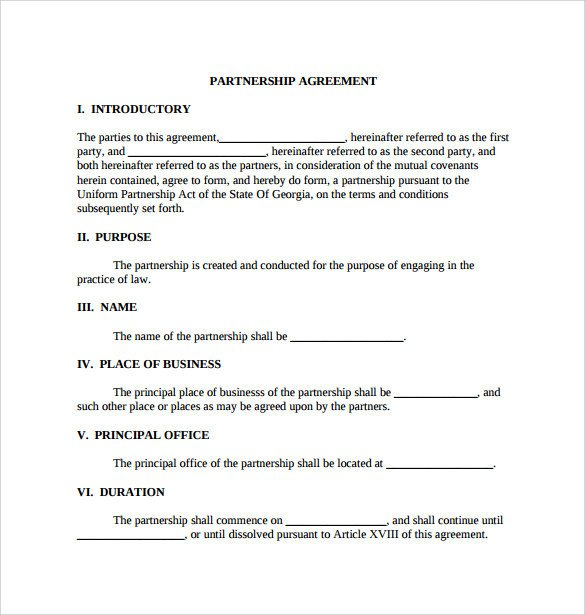 Partnership Agreement Template Pdf Sample General Partnership Agreement 11 Documents In