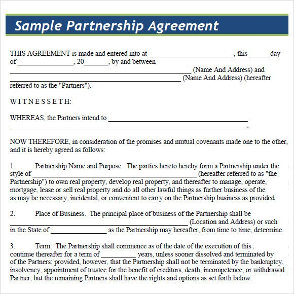 Partnership Agreement Template Pdf Sample Partnership Agreement 15 Documents In Pdf Word