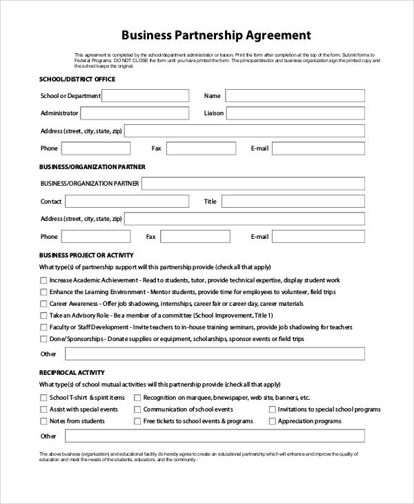 Partnership Agreement Template Pdf Sample Partnership Agreement 16 Examples In Pdf Word